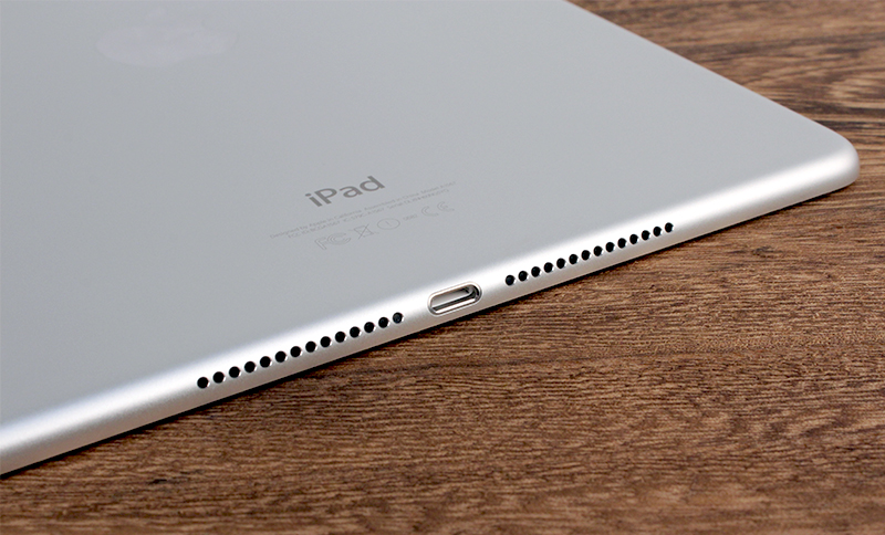 The iPad Air 2's speakers are still found only on the bottom of the display, flanking the Lightning connector.