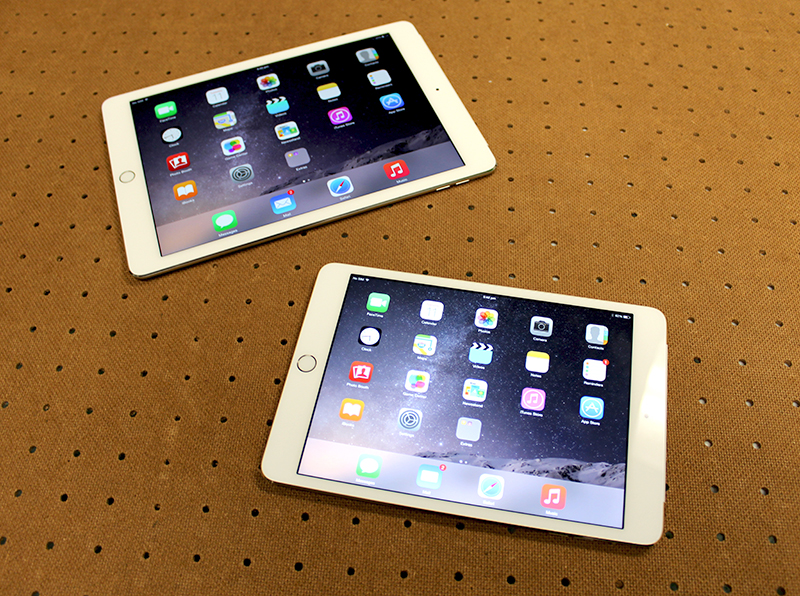 The latest tablets from Apple - the iPad Air 2 and iPad Mini 3.