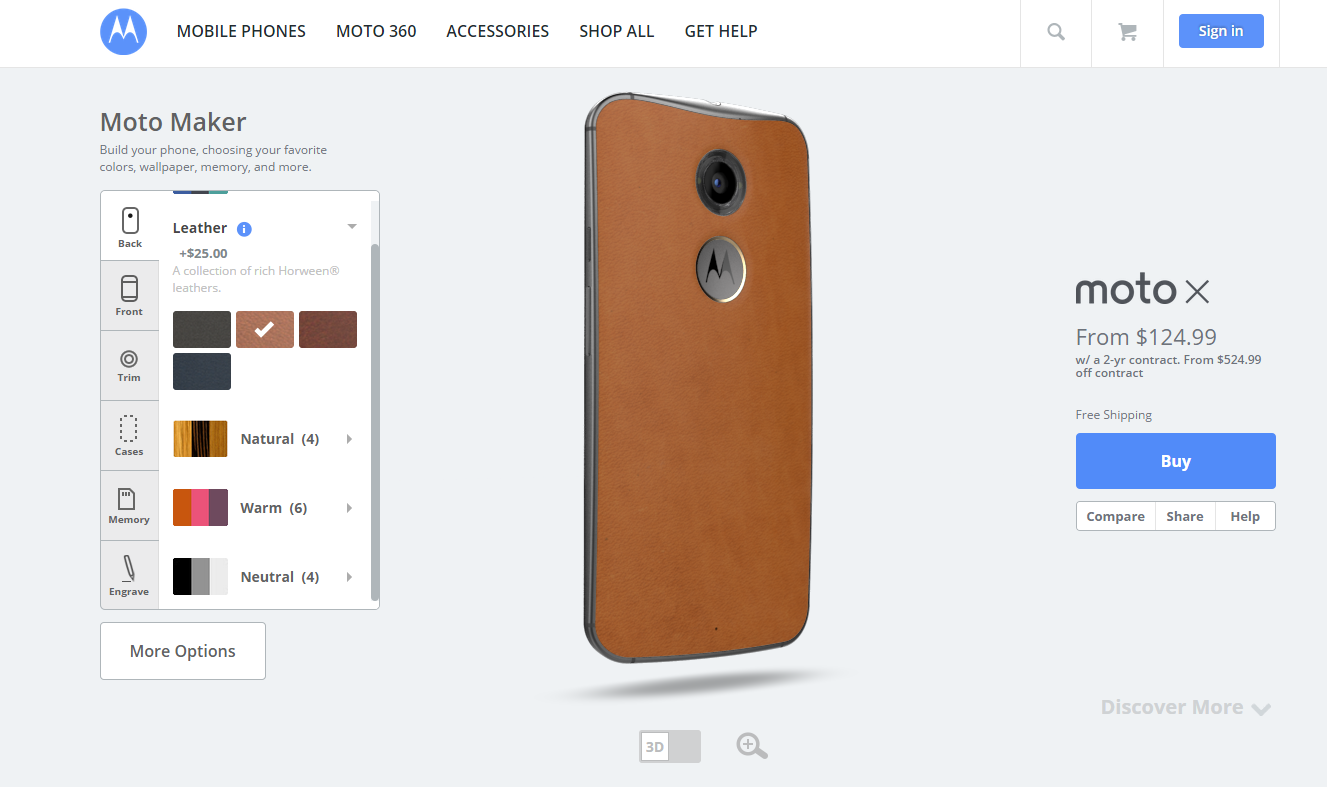 Here's one we customized earlier on the store. Unfortunately the Moto Maker store is only available in the US.