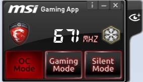 The MSI Gaming App with the new EyeRest tab on the right.