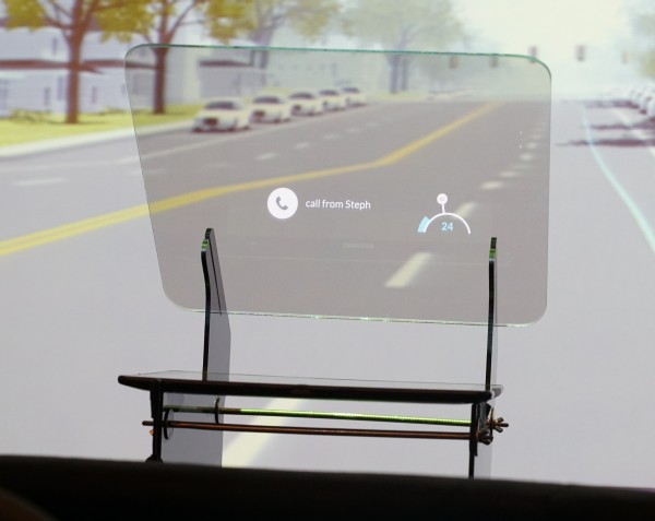 A mock-up of the HUD that Intel designed for the automotive concept.