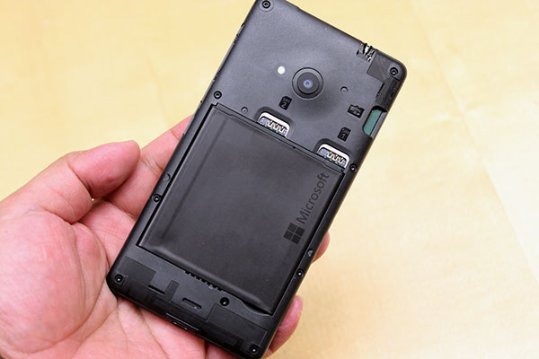Dual SIM and microSD card slots are accessible when you remove the rear shell.