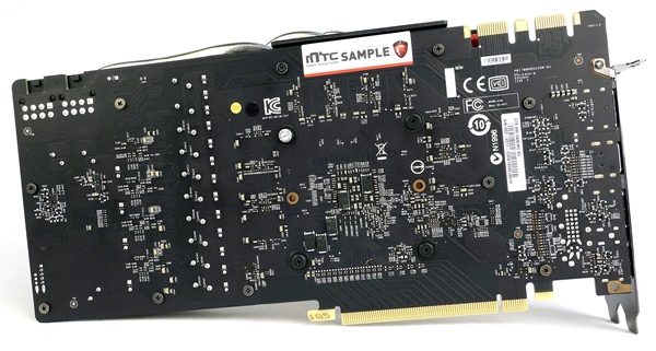 The rear view of the card's PCB. As we had mentioned earlier, the card doesn't feature a backplate and that helps it retain a strict two-slot profile.