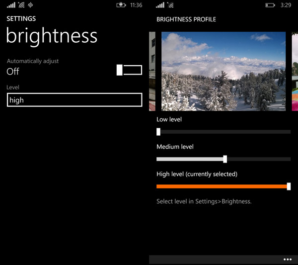 There's one brightness setting, and then there is yet another brightness setting under display setting