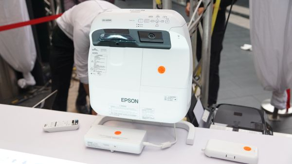 The EB-1430Wi short-throw interactive projector, the star of the show.