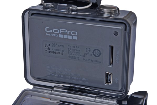 Aside from your microSD card and Mini-USB, there are no other connectivity options on the GoPro HERO.