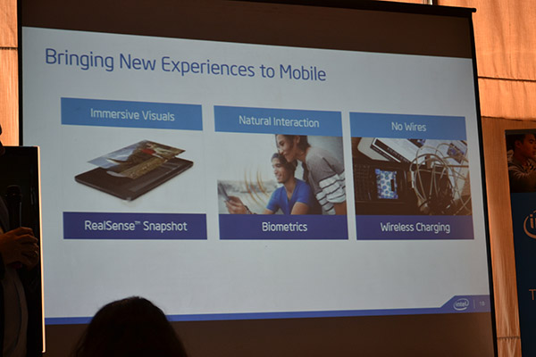 Intel is keen on adding new experiences to the mobile world with RealSense, biometrics, and wireless charging.