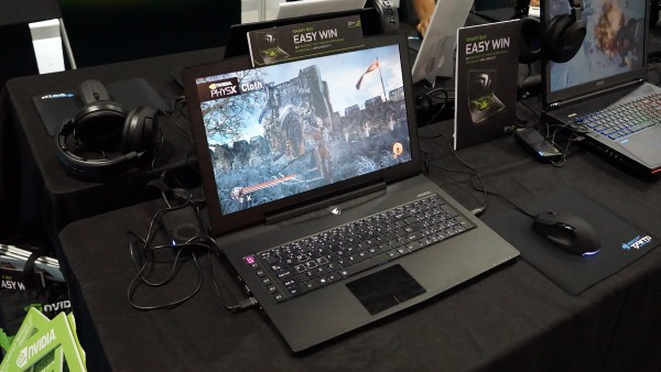 The AORUS X7 is one of the six gaming notebooks that are on display at the NVIDIA booth.