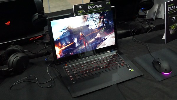 The hauntingly and wickedly slim HP Omen is also on display.