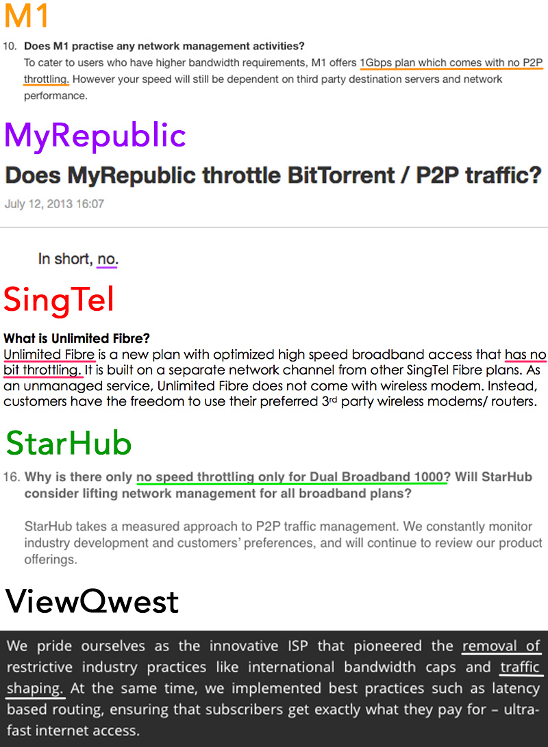 MyRepublic and ViewQwest say they don't throttle bandwidth; M1, SingTel, and StarHub basically say the same thing, but only for their highest-end plans. (Screengrabs from the ISPs' websites; emphasis ours.)
