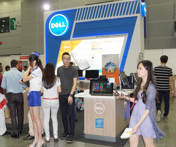 Dell's booth, and the Alienware booth (below).