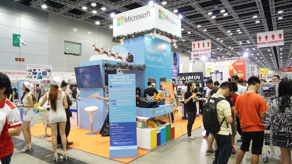 Microsoft surprised us by coming out in full force with two booths: one dedicated to the Lumia phones and the other to Windows 8.1 devices (below).