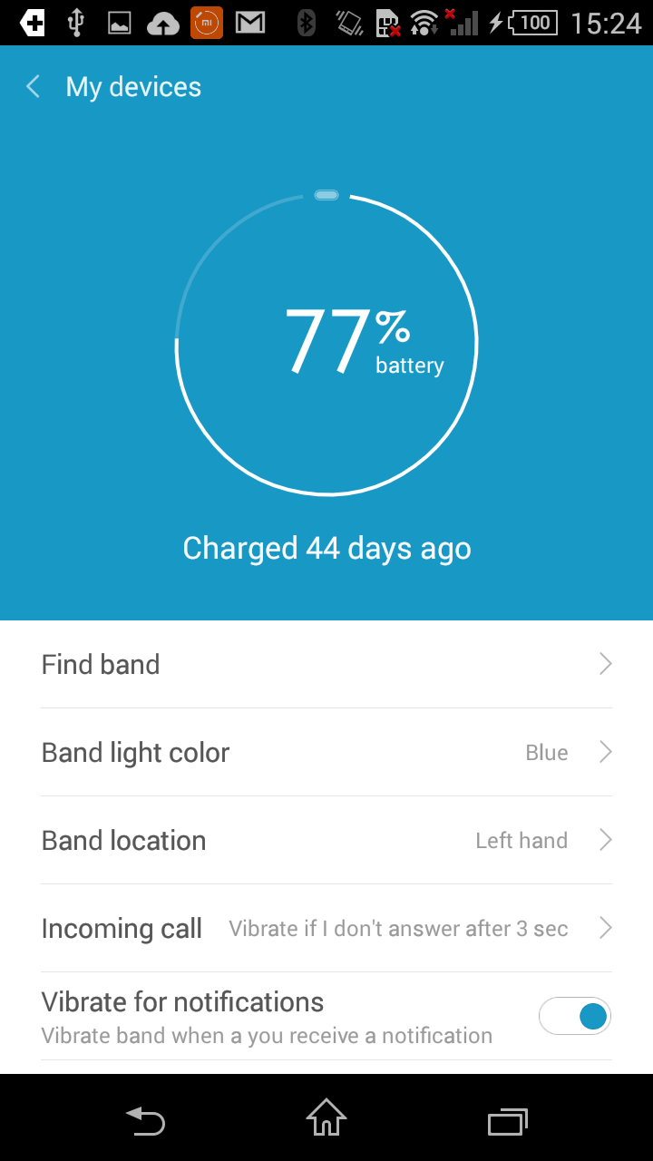 I didn't charge the Mi Band when I got it, and after a day of use, it's only dropped by 3 percent.