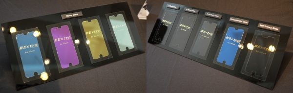 Under the EXTRA by Gramas series, there's the Mirror Glass screen protectors (pictured left), which adds color to the mirror-like surface and is only 0.33mm thin. There are also an assortment of glass protectors (right), which offer anti-glare viewing, Blue Light protection, and more.