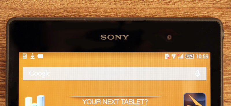 The Z3 Tablet Compact's stereo speakers are neatly hidden between the screen bezel and frame.