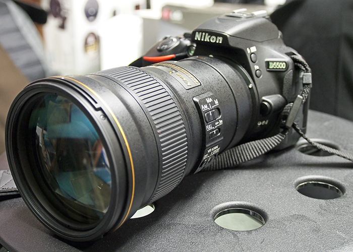 The D5500 with the new AF-S 300 mm f/4 E PF ED VR mounted.