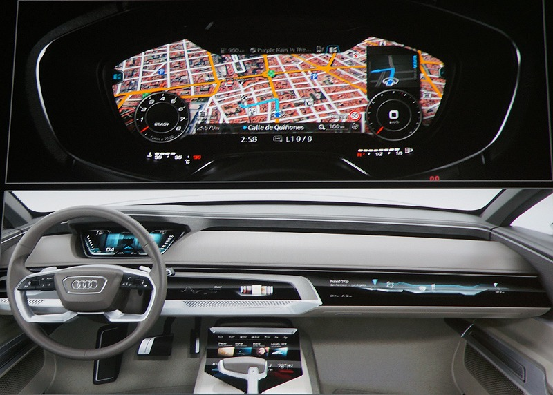 Audi's rendition of the in-car dashboard and console of the future. As you might notice, it's full of displays and they require a capable processor to power them without draining too much power. Tegra's X1 and future variations are probably right for that task.