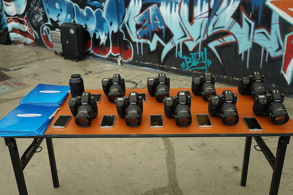 A lineup of NX1 and accessories that were provided for the NX1 Masterclass workshop.