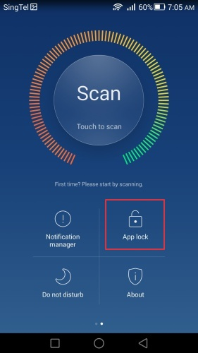 App Lock can be found in the Phone Manager app on the Huawei Ascend Mate 7.