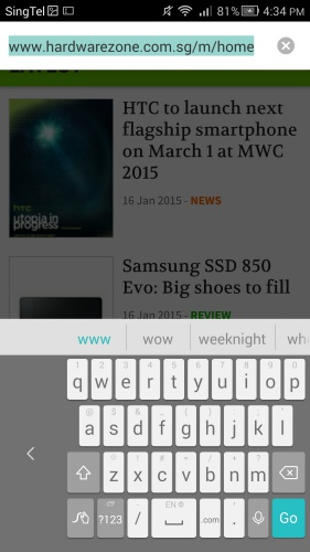 The on-screen QWERTY keyboard also shrinks in size to the left or right depending on your preference.