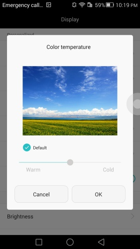 You can adjust the color temperature of the display on the Huawei Ascend Mate 7.
