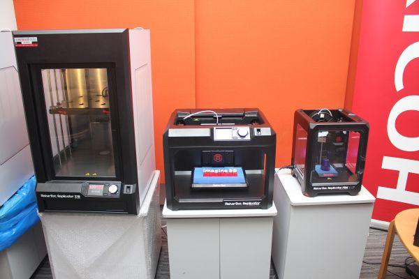 From L-R: MakerBot Z18, MakerBot Replicator, and MakerBot Replicator Mini.
