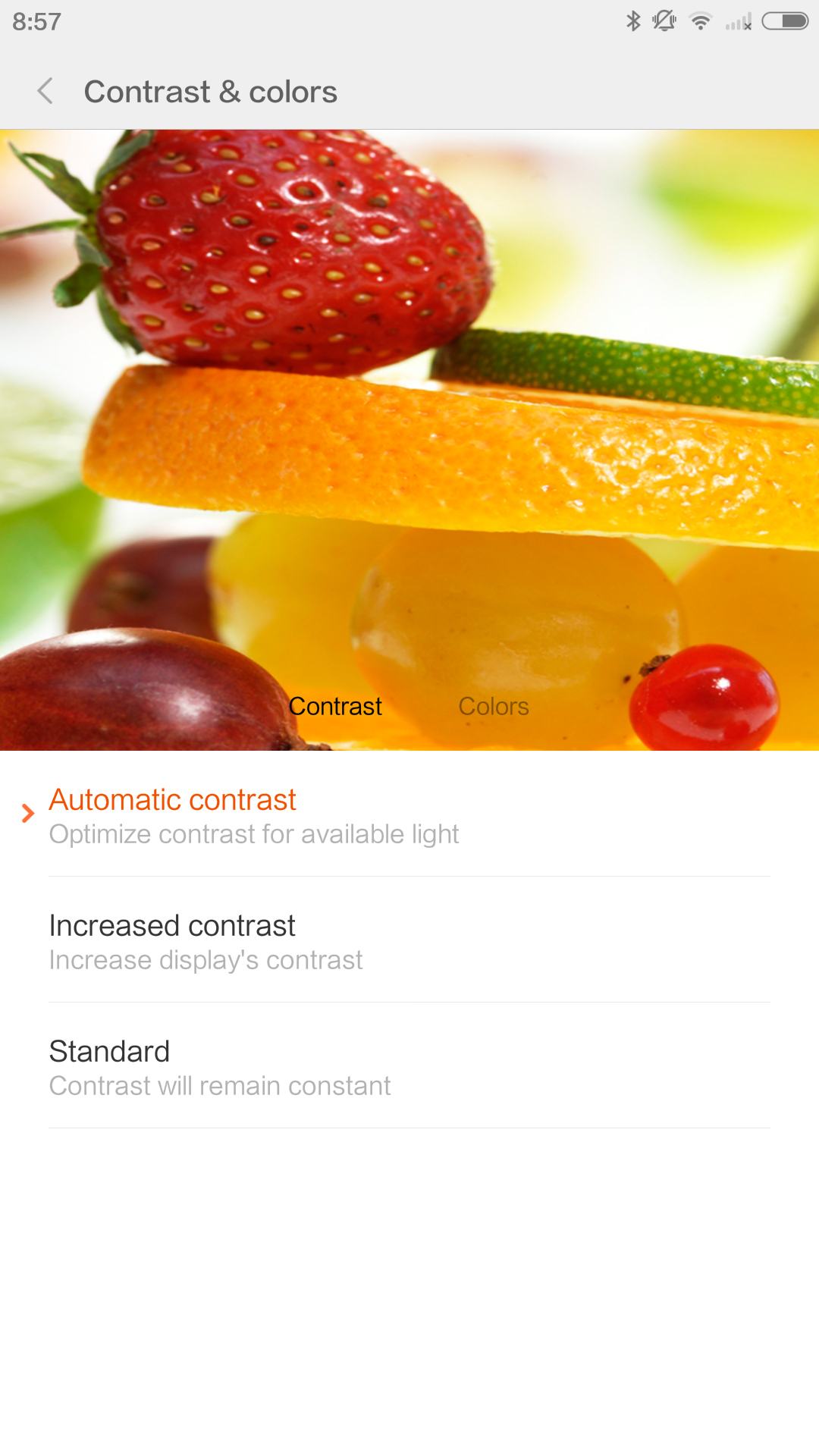 Color and contrast preferences can be adjusted from the MI UI display settings.