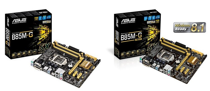 Here you have the ASUS B85M-G on the left and the ASUS B85M-G R2.0 on the right.