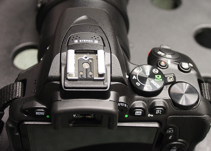 Top view of the D5500. Note that Live View switch, it's now more like a toggle that springs back after activation.