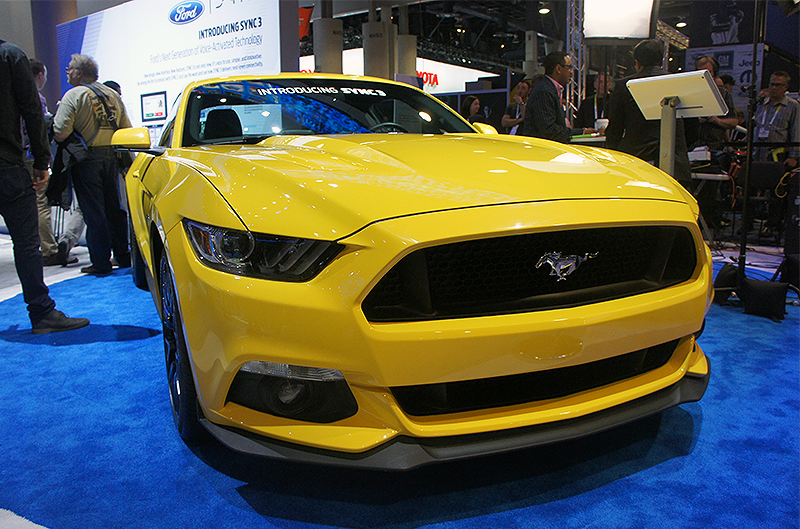 American muscle! More importantly, Ford is showing off its new Sync 3 in-car infotainment software, which, like a smartphone or tablet, can receive software updates over Wi-Fi.