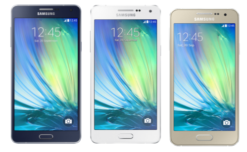From left to right: Galaxy A7 4G, Galaxy A5 4G, Galaxy A3 4G.