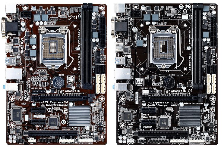 Gigabyte's GA-B85M-HD3 revisions compared - Revision 1.0 (left) vs. Revision 2.0 (right). Note that this board isn't available locally.