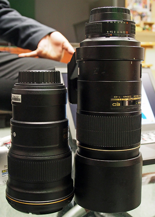 Side-by-side: the new Nikon 300mm f/4 and the one from the previous generation.