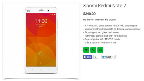 The Xiaomi Redmi Note 2 is listed on Oppomart.