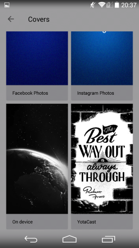 You can select photos from your Facebook, Instagram, camera roll or YotaCast (default wallpapers that can be downloaded).