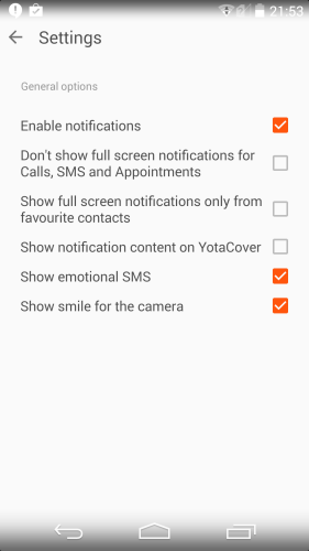 If you prefer to have more privacy on YotaCover, the Settings menu enables you to enable or disable notifications.