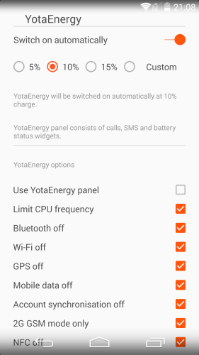 YotaEnergy helps you maximize battery life of your YotaPhone 2 through a series of measures seen in this screenshot.