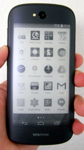 This is how the app launcher looks in YotaMirror on the YotaPhone 2.