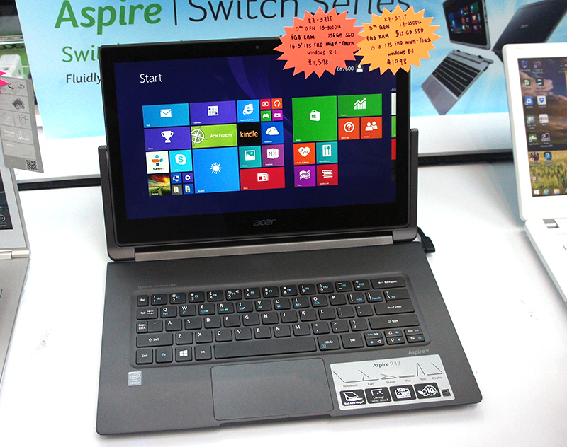 "For something zipper, there's the Acer Aspire R13. It is powered by Intel's latest ""Broadwell"" Core i5-5200U processor (2.2GHz, 3MB L3 cache) and comes with 8GB of RAM and 128GB SSD in RAID 0. It also features a 13.3-inch IPS Full-HD display that is protected by Gorilla Glass 3. Prices begin from $1,598 (U.P: $1,798)."