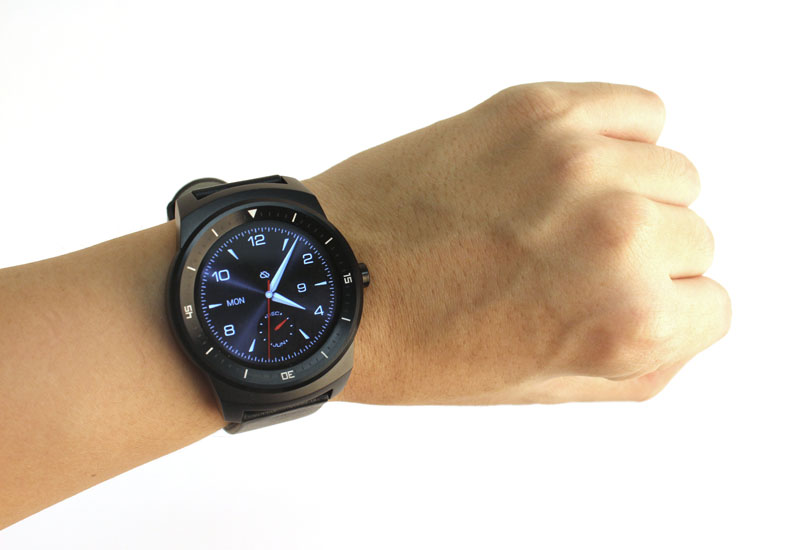 The G Watch R is angular, chunky and black.
