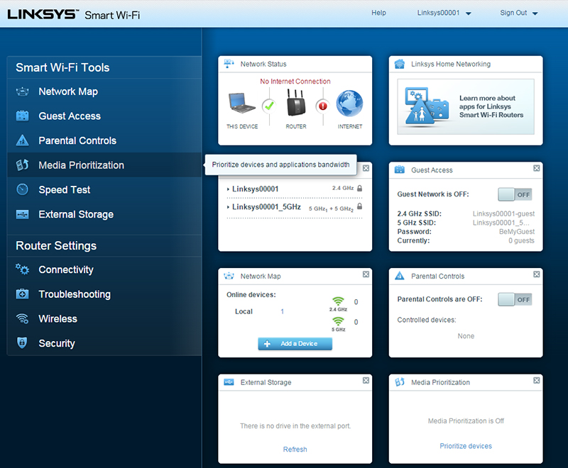Linksys' Smart Wi-Fi user interface is arguably the most user-friendly and effective in the market right now.