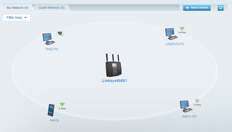 "Smart Connect at work. Notice how ""Lenovo-PC"" and ""Andy-PC"" have been assigned to two different 5GHz bands."