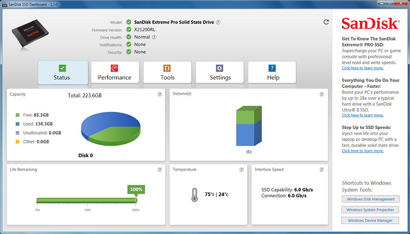 The SanDisk SSD Dashboard lets users monitor the health of their drives and also update its firmware.