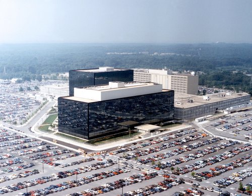 The National Security Agency's headquarters in Fort Meade, Maryland, USA <br>Image source: Wikipedia.