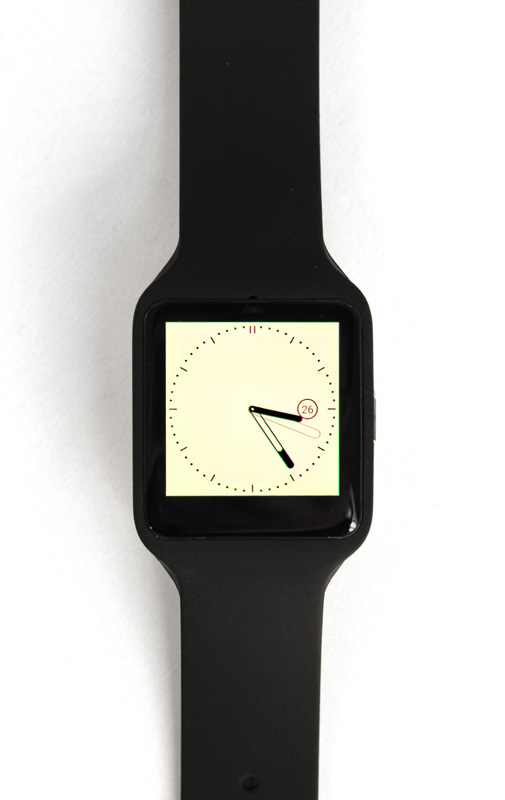 The display on the SmartWatch 3 is really yellow. It's very obvious on white watch faces.