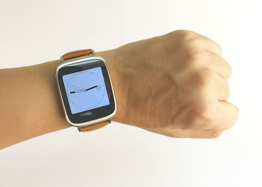 The ZenWatch has a square display, but the bezels around it are rounded, softening its appearance.
