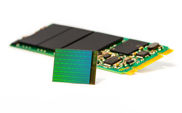 The new 3D NAND will enable gum stick-sized SSDs with more than 3.5TB of storage. (Image Source: Intel)