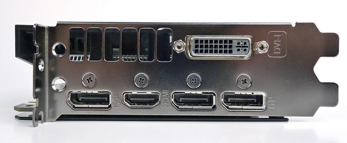 The ASUS card has a dual-link DVI-I connector, a HDMI 2.0 port, and three DisplayPort ports.