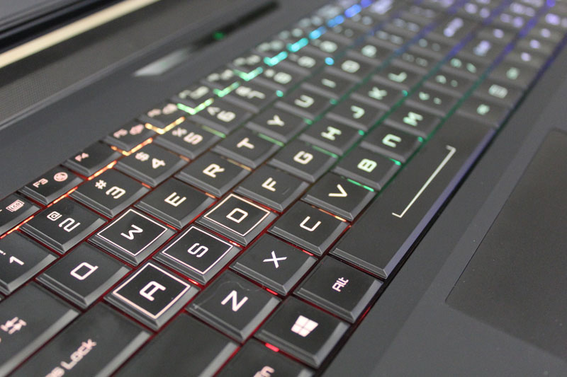The W-15 has a programmable keyboard and customizable backlights, but there aren't any macro or shortcut keys. That's probably due to space limitations.