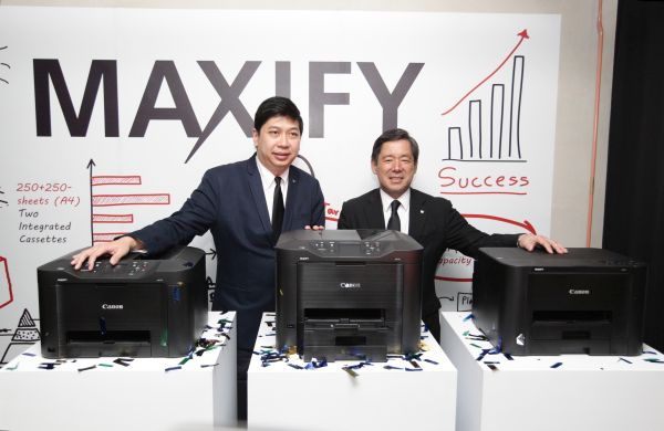 From L - R: Canon Marketing (Malaysia) Assistant Director of CSP Jeffrey Kung and Canon Marketing (Malaysia) President; and CEO, Wataru Nishioka introducing the MAXIFY MB5370, MB5070, and MB iB4070.